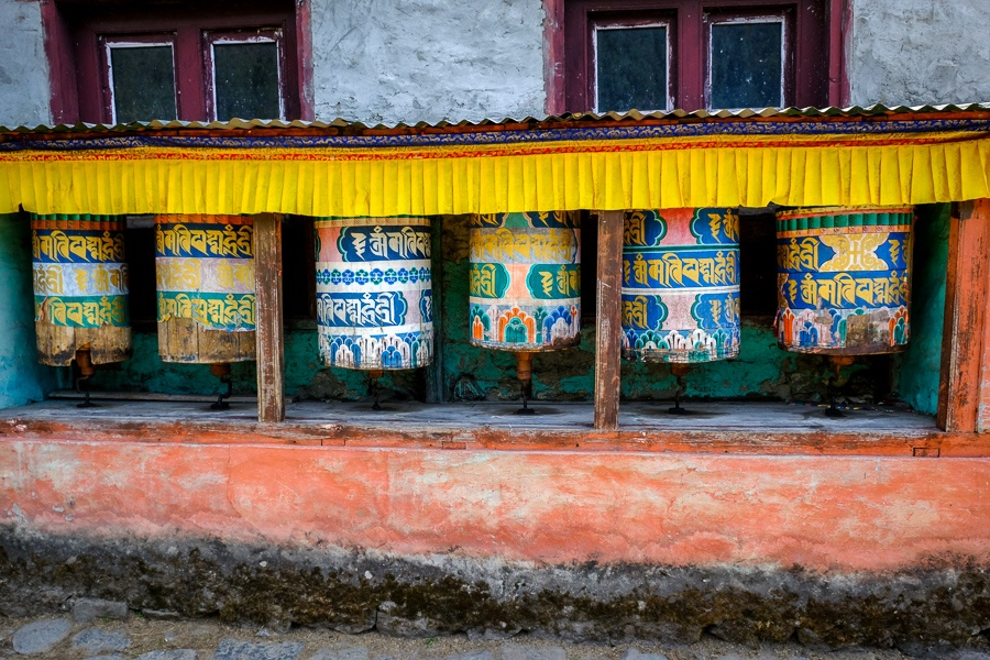 Prayer wheels near Lukla on the EBC Trek in Nepal