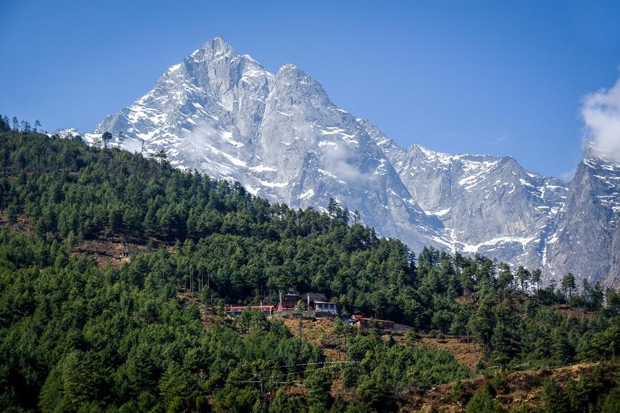 Mountains and pine trees near Lukla on the EBC Trek in Nepal