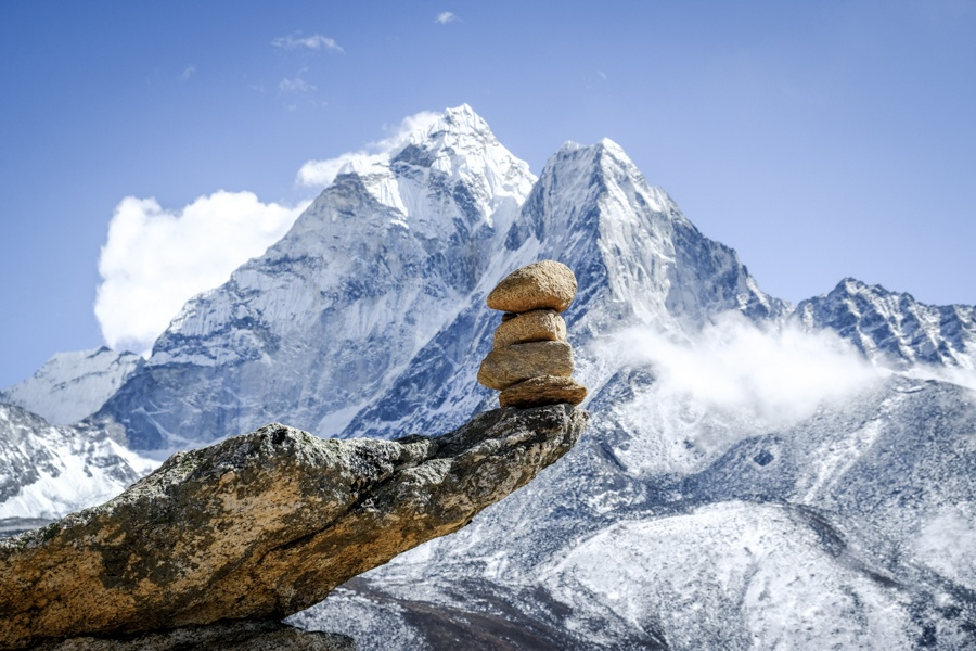 Balancing stones near Mt Ama Dablam on the Everest Base Camp Trek in Nepal