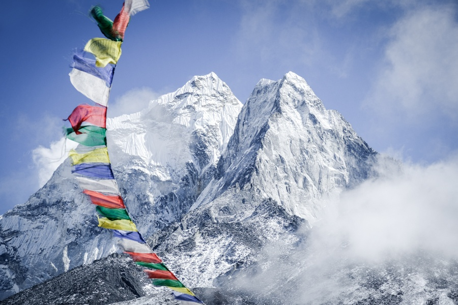 Prayer flags and Ama Dablam on the Everest Base Camp Trek in Nepal