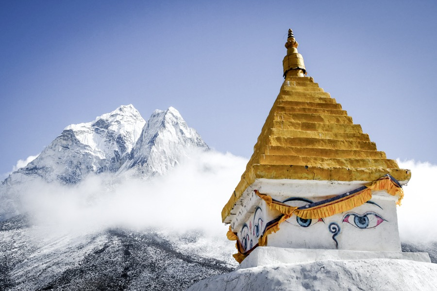 Stupa with Mt Ama Dablam on the EBC Trek in Nepal