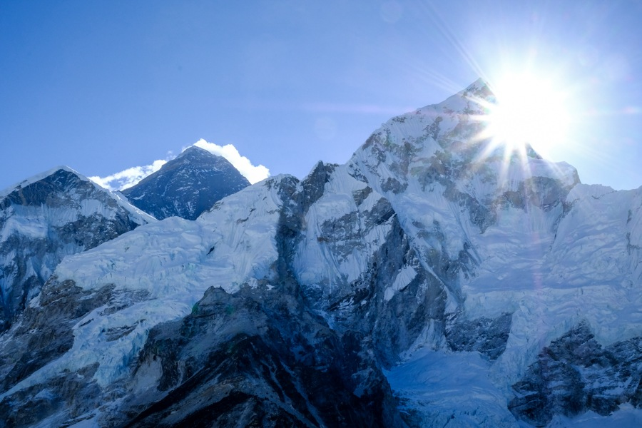 Sunrise near Mt Everest as seen from Kala Patthar on the Everest Base Camp Trek in Nepal