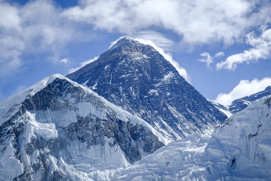 Distant view of Mount Everest peak on the EBC Trek in Nepal