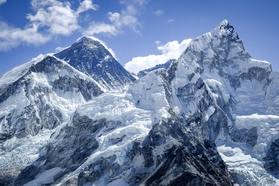 Mount Everest and other snowy peaks on the EBC Trek in Nepal