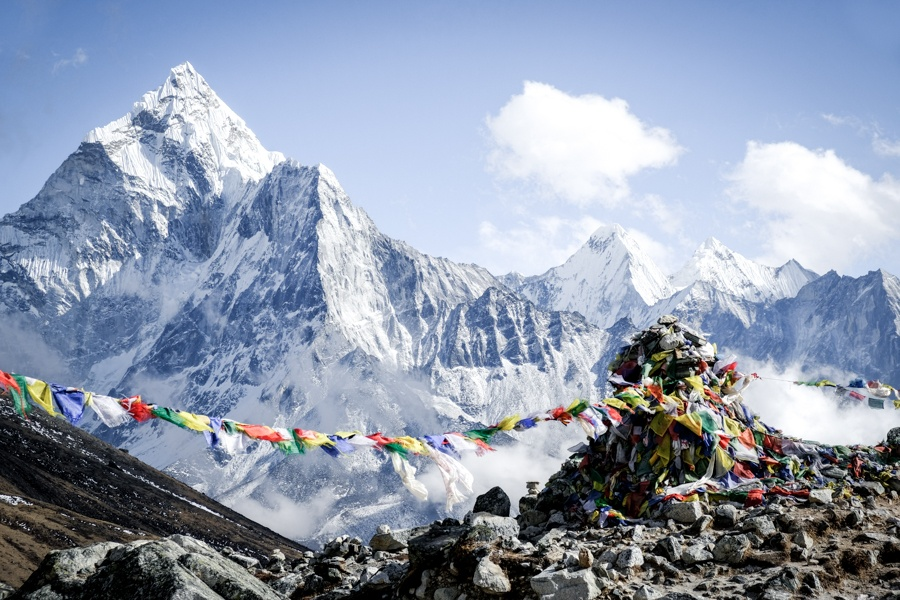Ama Dablam and another mountain range on the EBC trek in Nepal