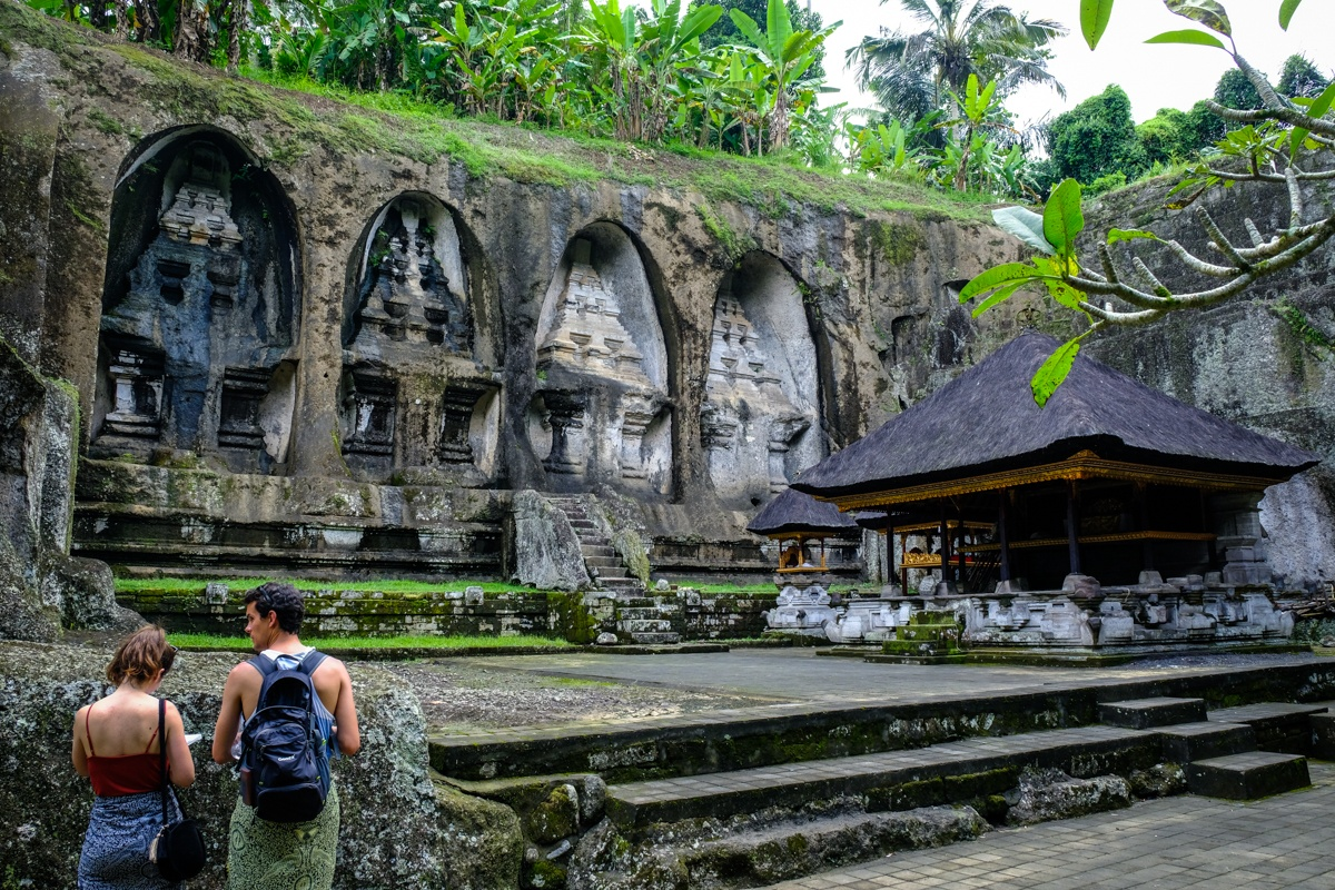 Tourists at Pura Gunung Kawi Temple in Bali