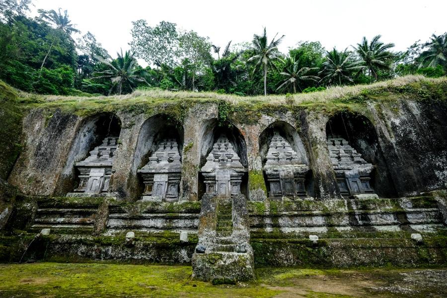 Cliff shrines at Pura Gunung Kawi Temple in Bali