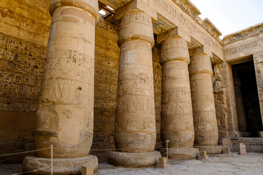 Pillars at Medinet Habu Temple in Egypt