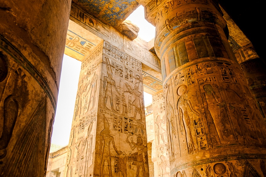 Hieroglyphs on temple pillars in Egypt