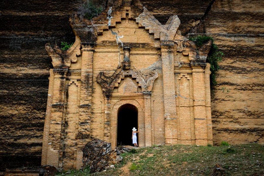 Doorway ruins of the Mingun Pagoda Pahtodawgyi in Myanmar