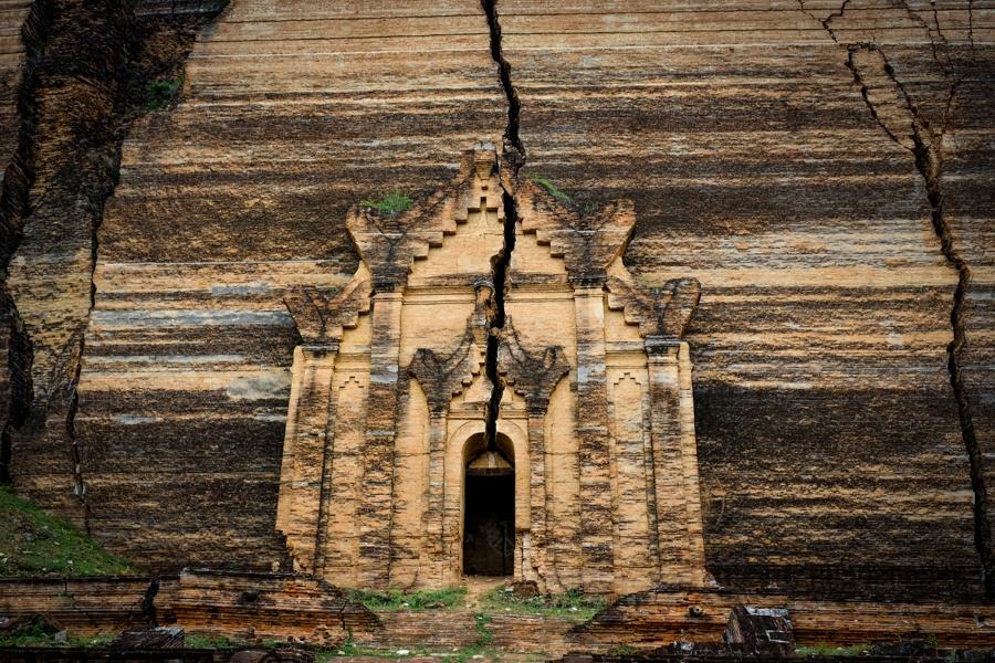 Doorway cracked ruins of the Mingun Pagoda Pahtodawgyi in Myanmar
