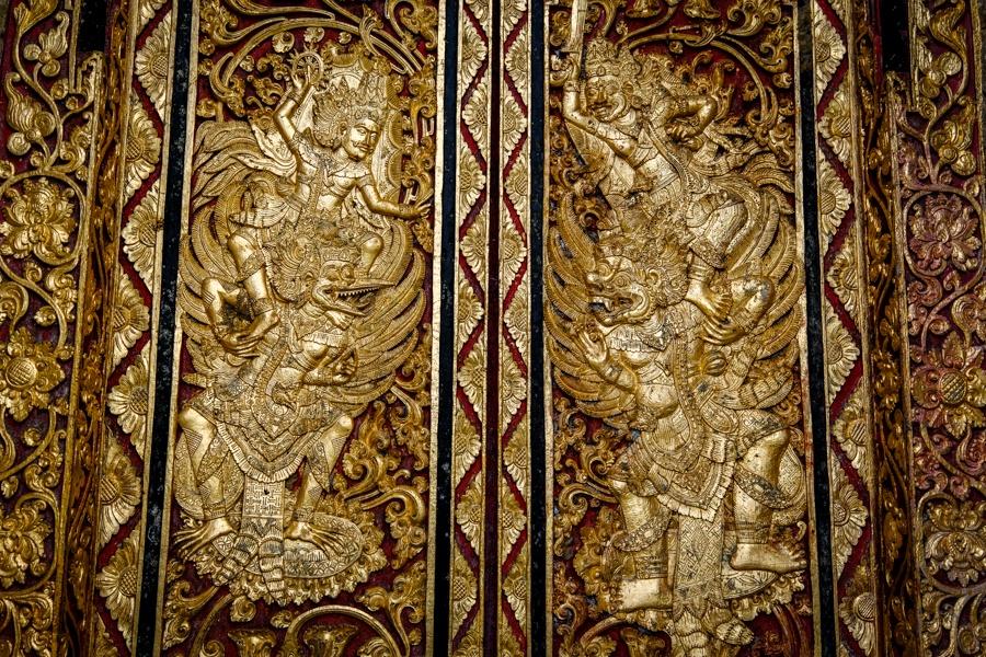 Gold door with Hindu Balinese carvings