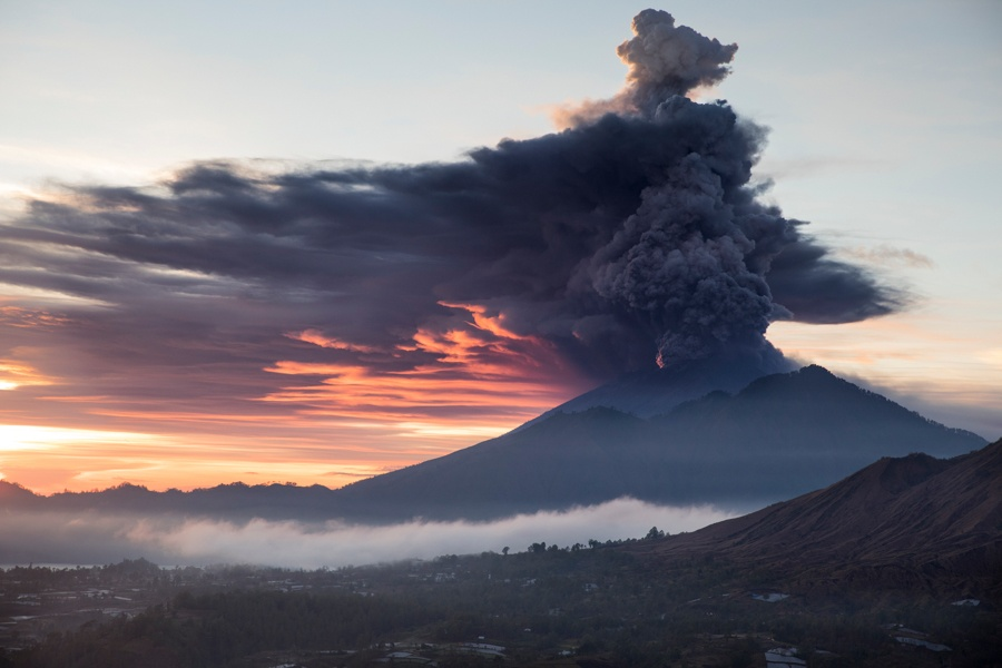 Mount Agung eruption and sunset in Bali in 2017