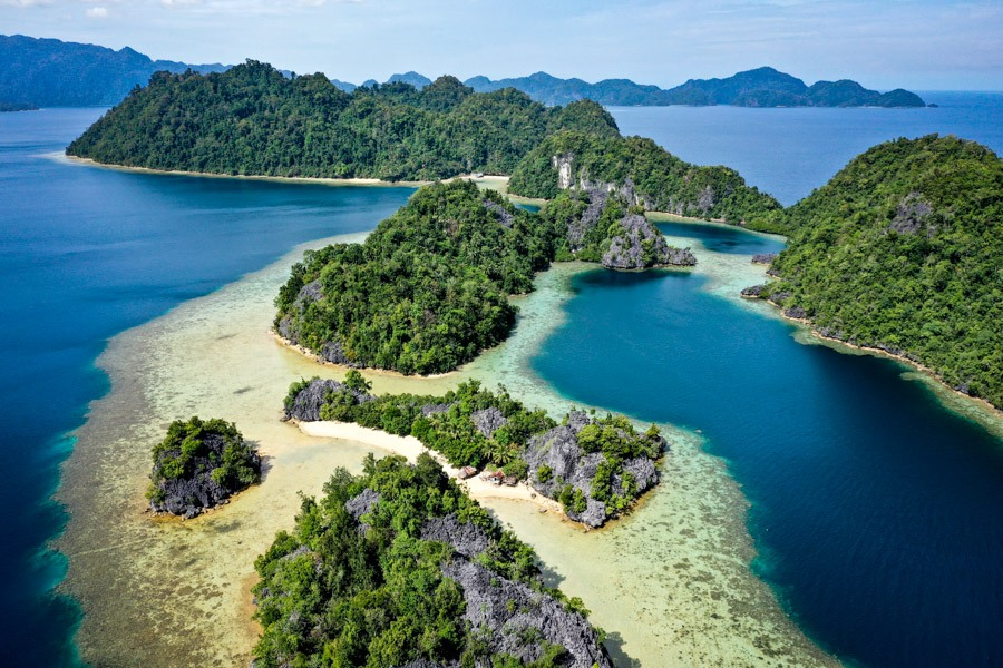 Pulau Harapan Island drone picture in Sulawesi Indonesia