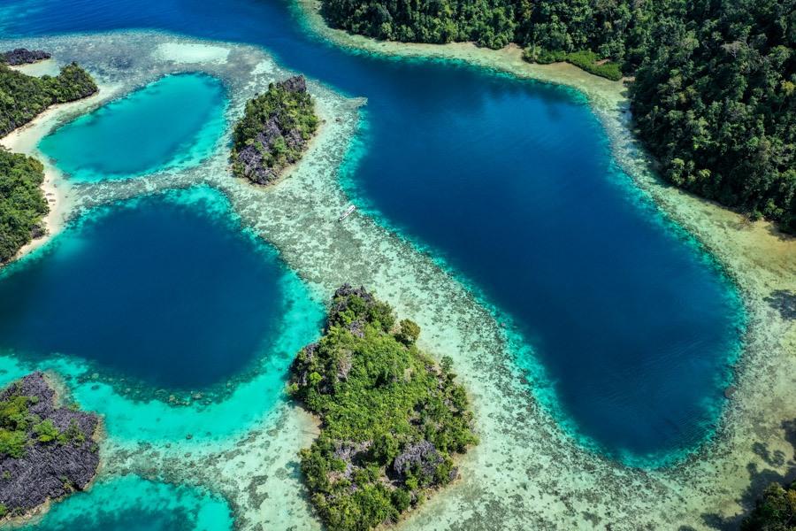 Sombori island drone picture of five lagoons