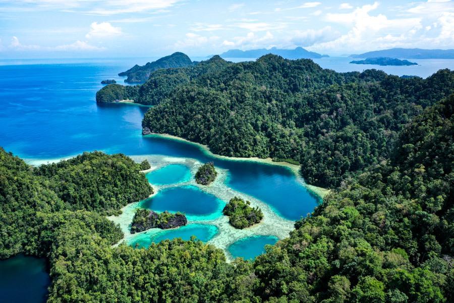 Sombori Island Laguna Raja Lima drone picture of the Five Kings Lagoon in Sulawesi