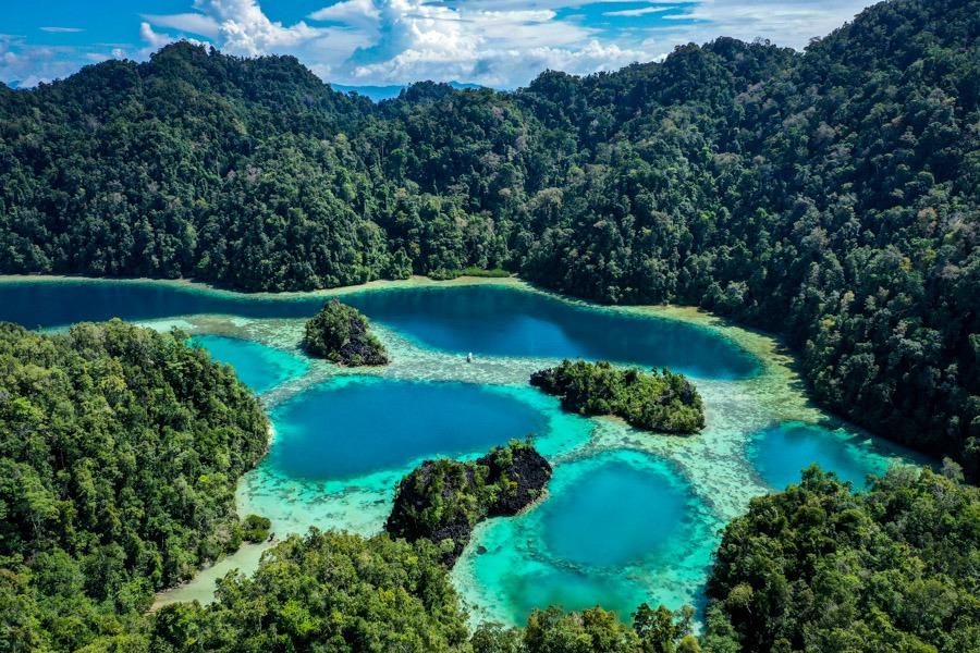 Laguna Raja Lima drone picture of the Five Kings Lagoon in Sulawesi