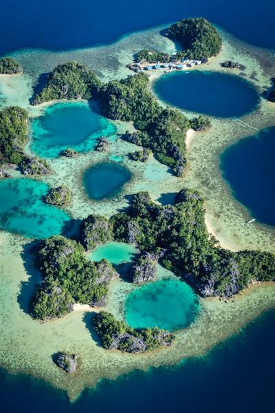 Sombori Island Puncak Kayangan Viewpoint drone picture in Sulawesi
