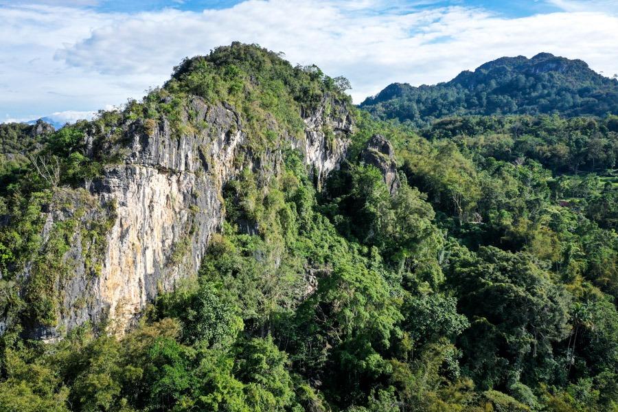 Tana Toraja drone picture of karst mountains