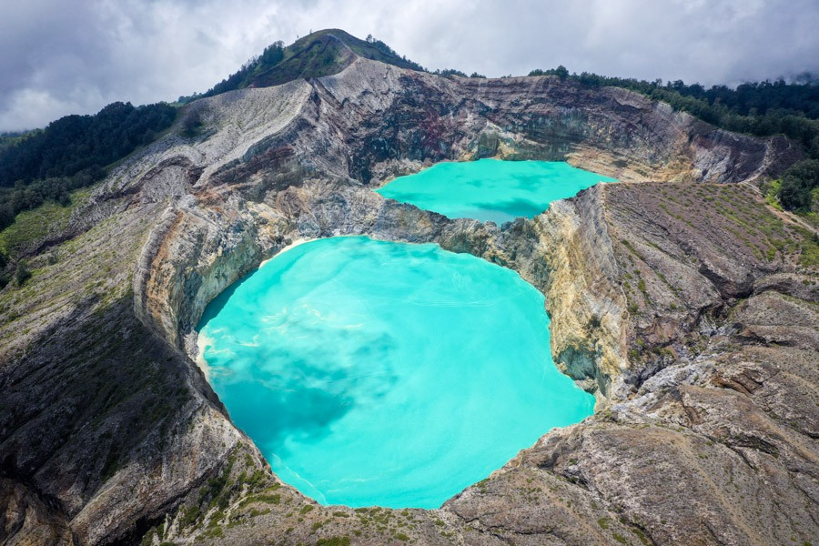 Drone picture of the Mount Kelimutu National Park twin lakes in Flores Indonesia