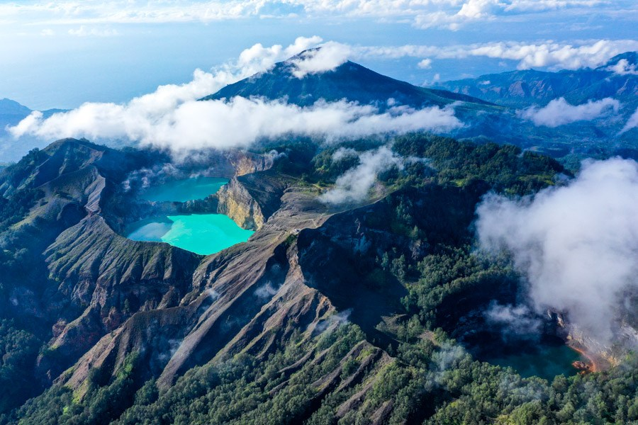 Kelimutu National Park drone picture in Flores Indonesia