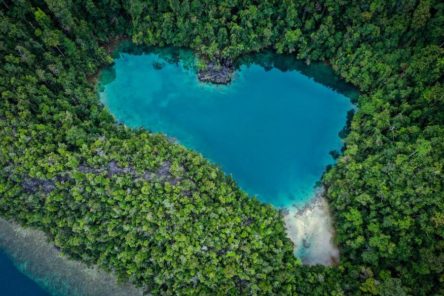 Danau Tobelo Laguna drone picture in Labengki Island