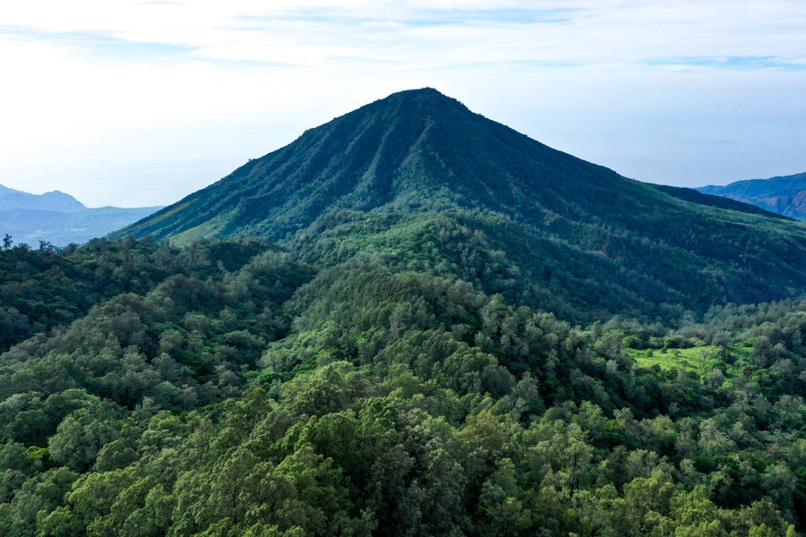 Mount Kelibara drone picture in Flores Indonesia