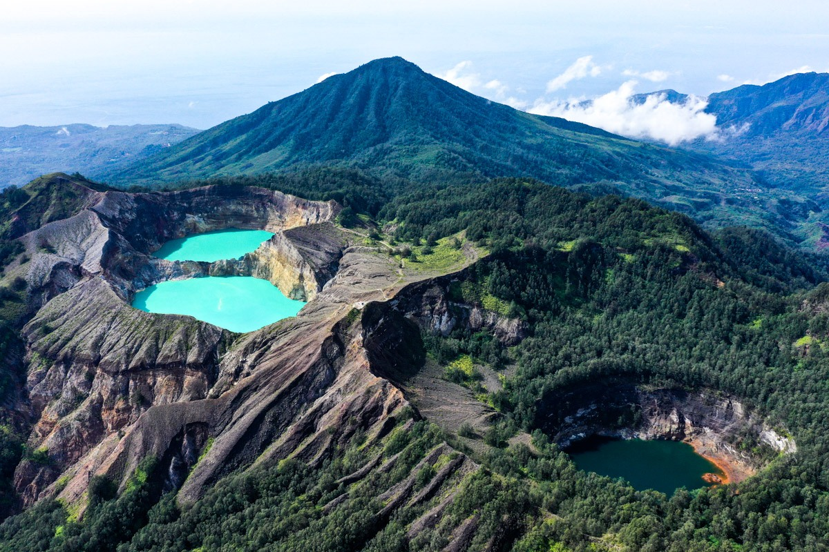 Kelimutu National Park triple lakes drone pic at Mount Kelimutu in Flores Indonesia