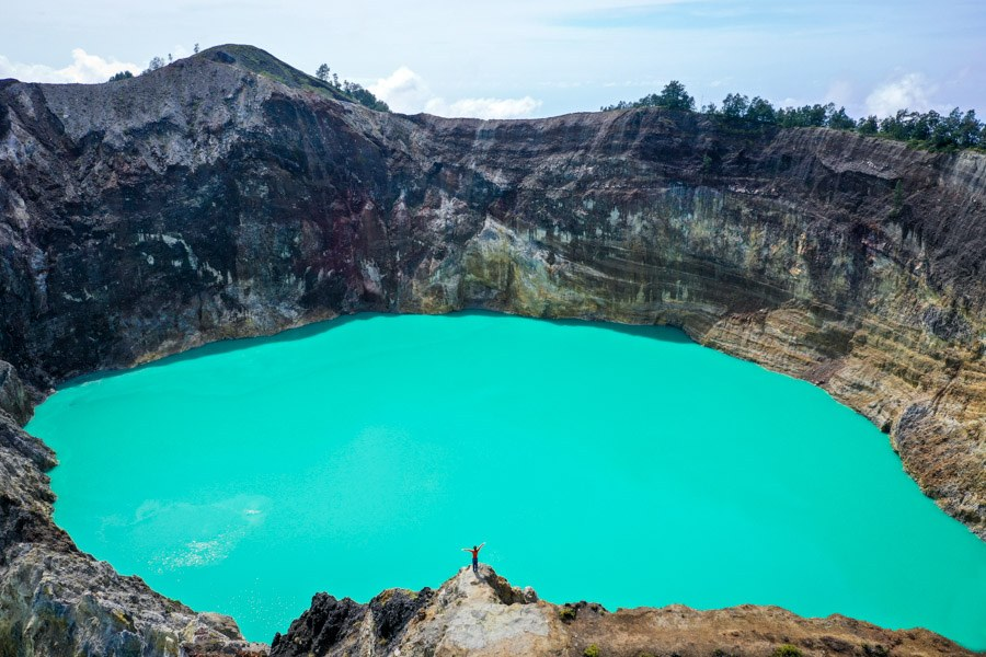 Blue twin crater lakes drone pic in Flores Indonesia