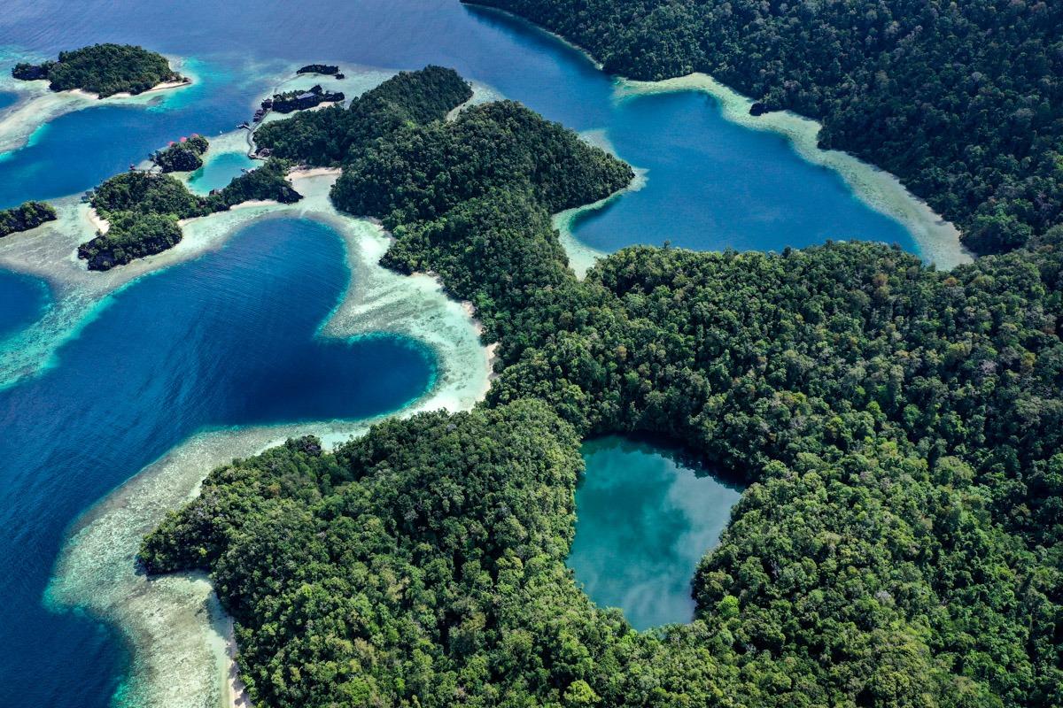 Labengki Island drone picture of Teluk Cinta