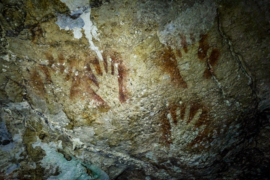 Prehistoric hand prints in Sombori Sulawesi