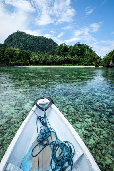 Boat at Pantai Umang-umang beach in Sulawesi