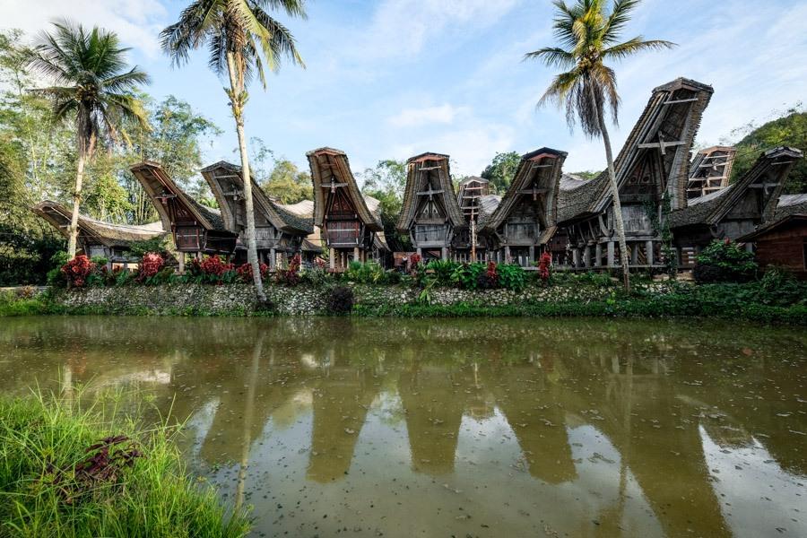 Tongkonan houses at Kete Kesu in Tana Toraja Indonesia