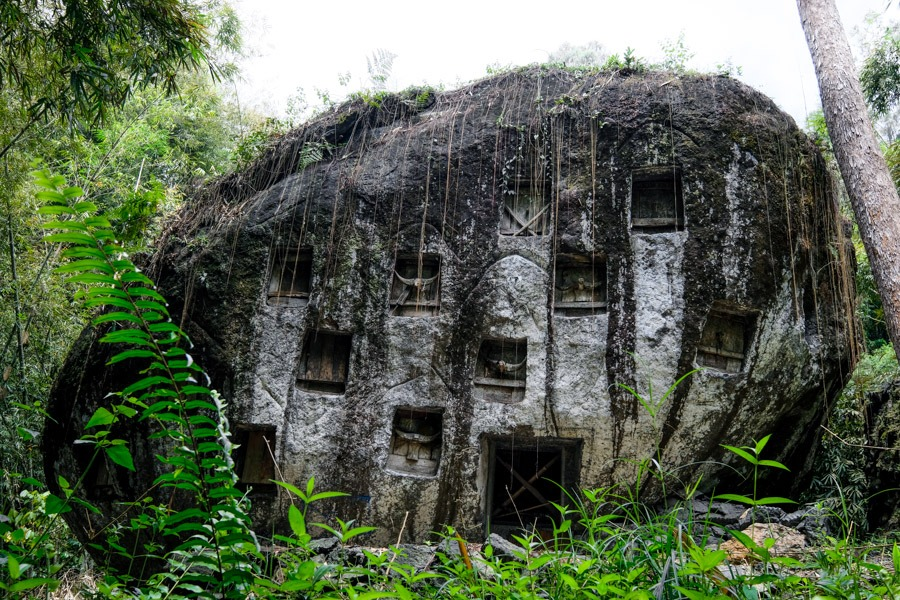 Bori Kalimbuang grave stone of Liang Pa in Tana Toraja Indonesia