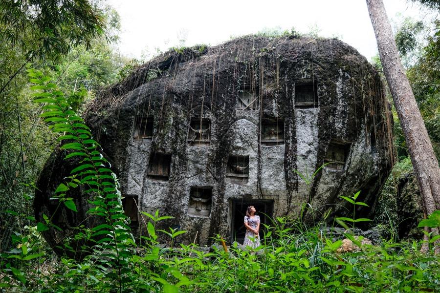 Tana Toraja Indonesia grave stone of Liang Pa at Bori Kalimbuang