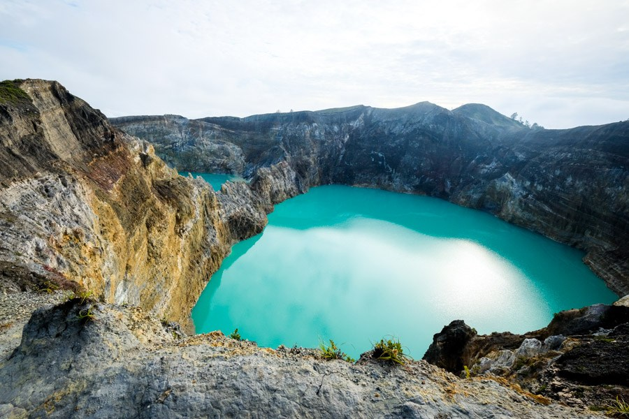 Kelimutu blue crater lake