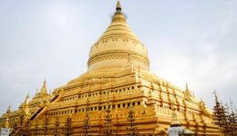 Shwezigon Pagoda Golden Temple In Bagan Myanmar