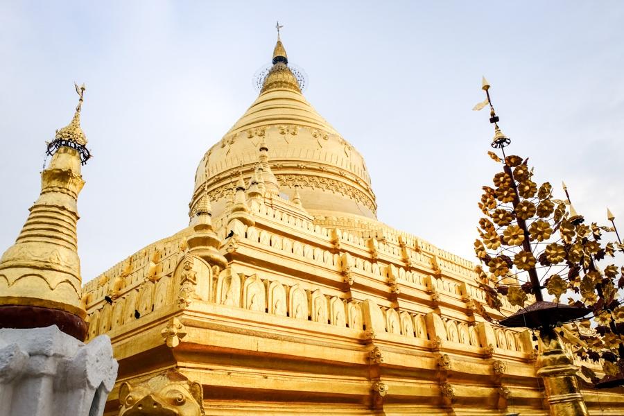 Shwezigon Pagoda Golden Temple In Bagan Myanmar
