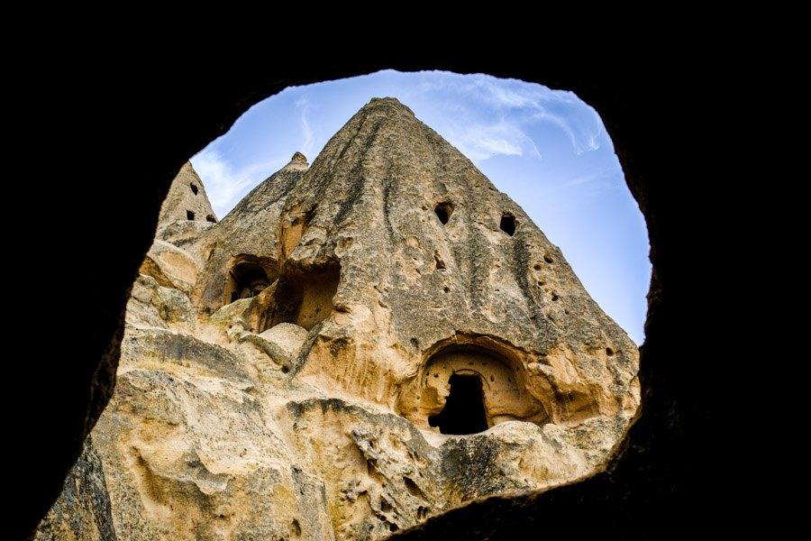 Selime Monastery window in Cappadocia Turkey