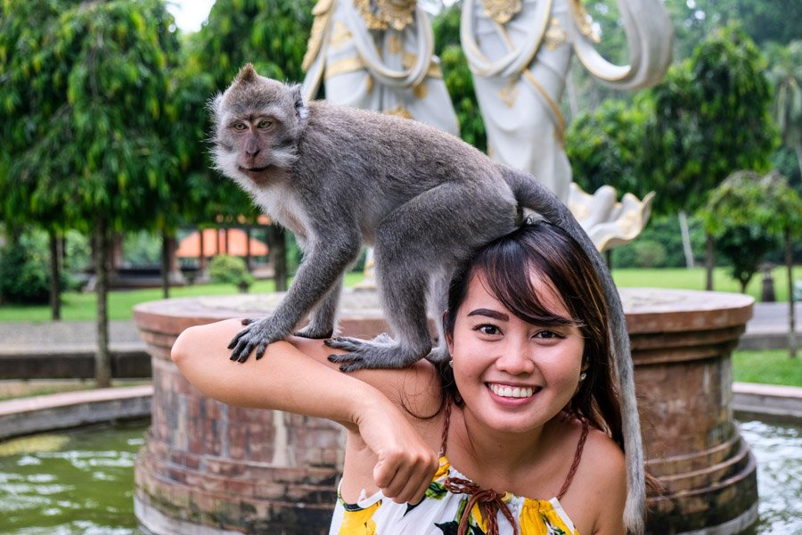 Girl holding a Bali monkey at Sangeh