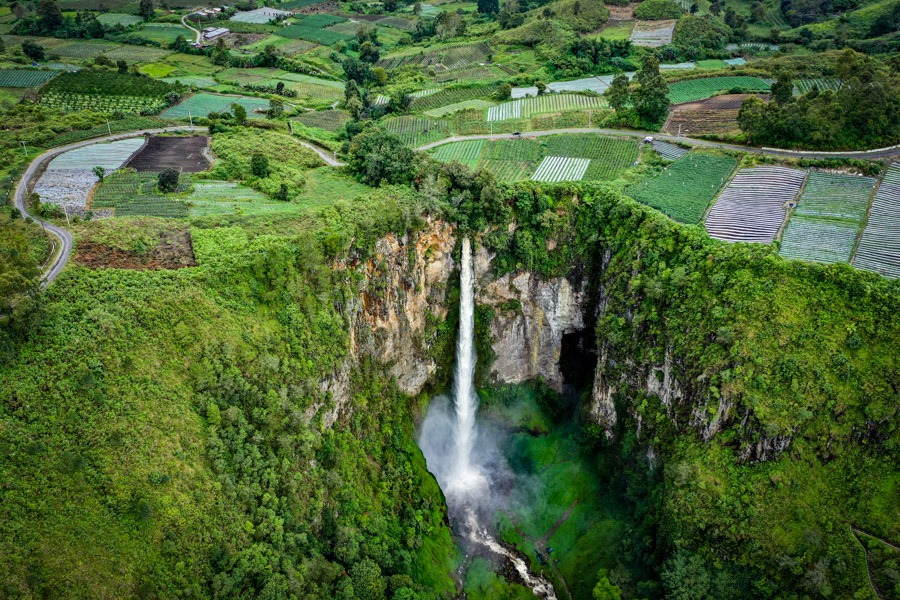 Sipiso Piso Waterfall Drone Picture In Berastagi Sumatra Indonesia