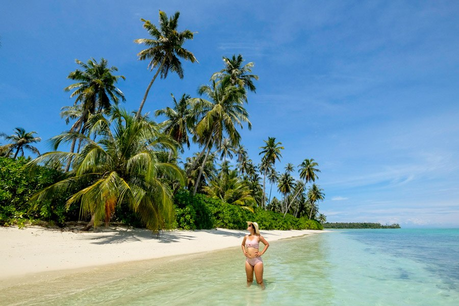 Tourist on the beach at Pulau Banyak Islands Indonesia