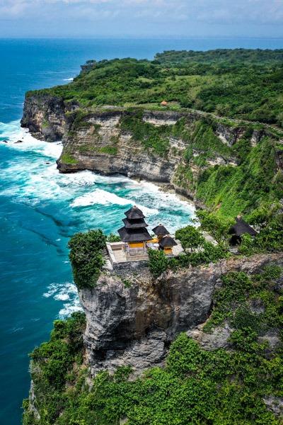 Uluwatu Temple drone picture in Uluwatu Bali Indonesia