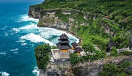 Uluwatu Temple drone picture in Uluwatu Bali Indonesia