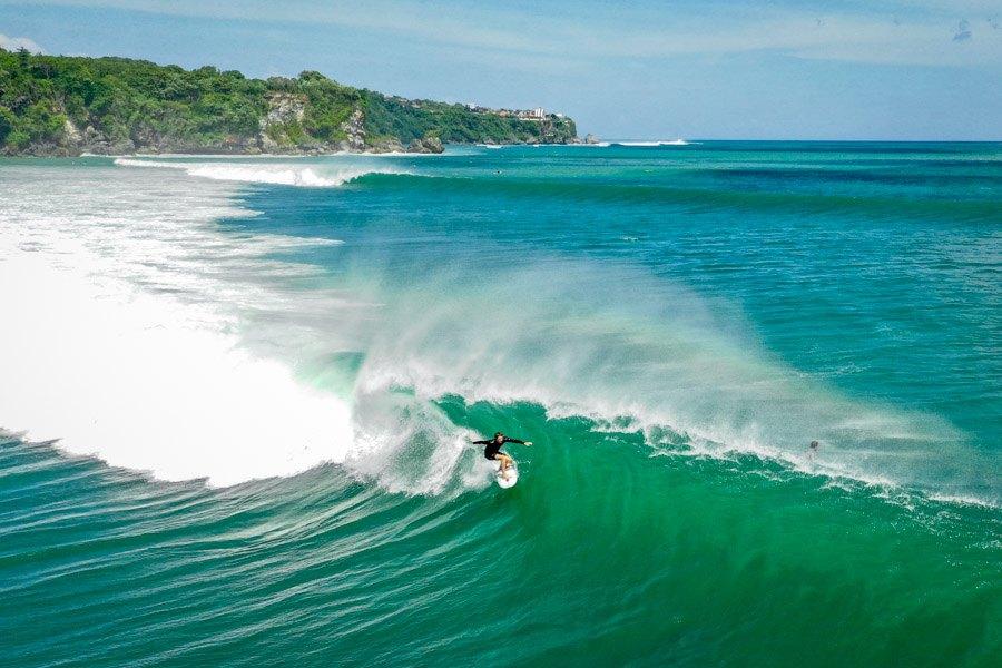 Surfer drone picture at Pemutih Beach