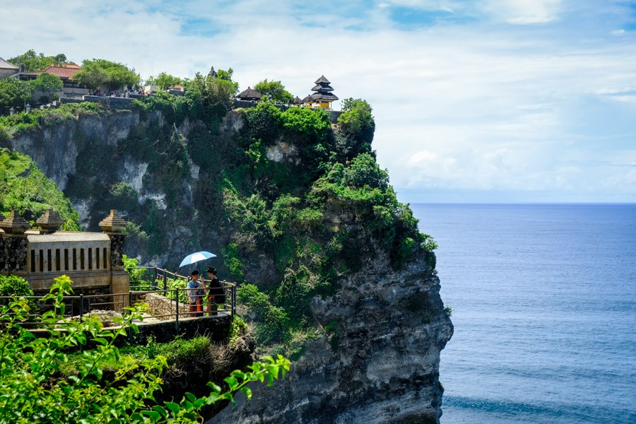 Uluwatu Temple cliff tourists in Uluwatu Bali