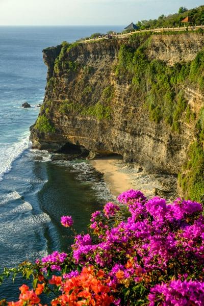 Uluwatu Temple cliffs and flowers in Uluwatu Bali
