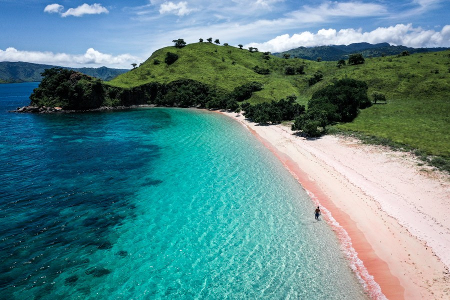Pink Beach Komodo Island Indonesia Labuan Bajo Flores Drone