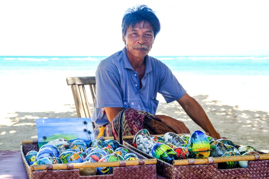Souvenir beach seller