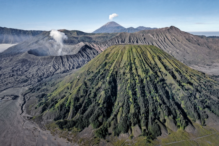 Mount Bromo Drone Java Indonesia Volcano Crater Tour